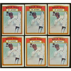 Lot of (6) 1972 Topps #50 Willie Mays IA