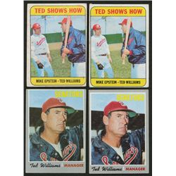 Lot of (4) Vintage Ted Williams Cards with (2) 1969 Topps #539 & (2) 1970 Topps #211