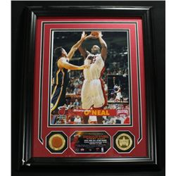 Shaquille O'Neal Heat 13x16 Custom Framed Display With Piece of 2006 Game-Used Basketball