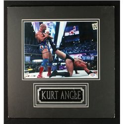 Kurt Angle Signed 14x14 Custom Matted Photo (PSA)