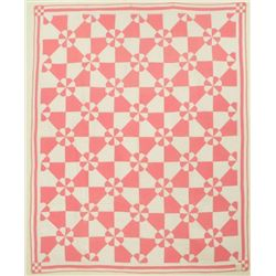 Texas Quilt  Pink And White Signed 1932