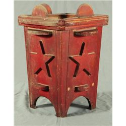 Texas Folk Art Red Painted Umbrella Stand