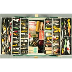Tackle Box Full of Wood Fishing Lures