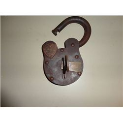 "WELLS FARGO OLD WEST PADLOCK W/KEY, 7.5"" TALL X 4.25"" WIDE, WEIGHS 5 Lbs"