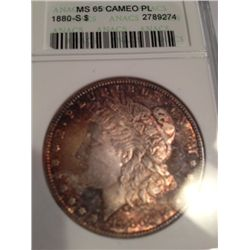 1880-S Morgan Dollar Anacs MS-65 Cameo Proof Like