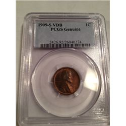 1909-S VDB LINCOLN WHEAT CENT, AU PCGS GENUINE