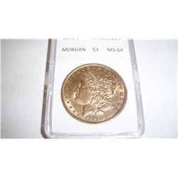 1891-S MORGAN SILVER DOLLLAR, ACG GRADED MS-64