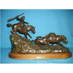 Scriver, Robert, The Race to the Rendezvous, #19/75 bronze, 1984, wt. 51 pounds.