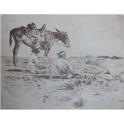 "Leigh, W.R. Navajo Indians. Etching. 6"" x 7. Attributed to Leigh."