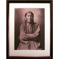 "Huffman, L.A.,  Mrs. White Elk, 1879, sepia giclee image, 15 ¾"" x 21 ½""."
