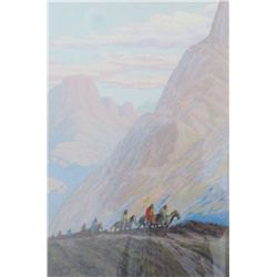 "Sayre, Grayson (1879-1939). Navajo Trail. Silk Screen. 14"" x 9 ½."