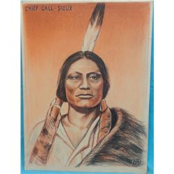 "Barron Brown. Brown was as an author and scholar on Custer. Chief Gall- Sioux. Colored pastel. 20"" x"