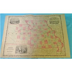 "Map: Johnson's Missouri and Kansas. 1855. Multi colored18"" x 25. Illustrated with 3 engraved vignett"