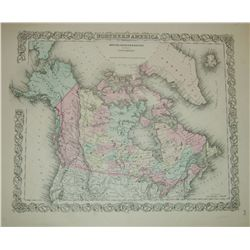 Map: British, Russian & Danish Possessions in North America. J.H. Colton, 1855 ca. Multi colored. 15