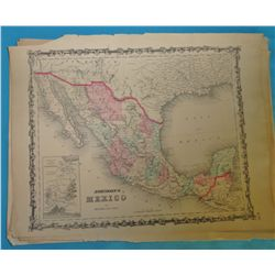 "Map: Johnson's Mexico. 1855 circa. Multi colored. 13 ½"" x 18. Includes Southern U.S. California, New"