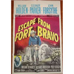 "Movie Poster: Escape from Fort Bravo. Starring William Holden and John Forsythe. 41 ½"" x 27. Full Co"