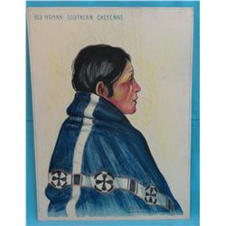 "Barron, Brown. Red Woman – Southern Cheyenne. Colored pastel. 20"" x 15. 1931 circa. From the Estate"
