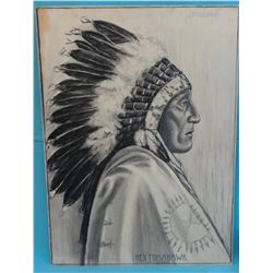 "Barron, Brown. Red Tomahawk. From photo by Fiske. Black & White pastel. 20"" x 15. 1931 circa. From t"