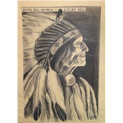 "Barron, Brown. White Bull, Nephew of Sitting Bull. Black & White Pastel. 19"" x 12 ½. 1931 circa. Fro"