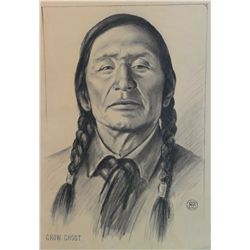 "Barron, Brown. Crow Ghost. Black & White Pastel. 19"" x 14. 1931 circa. From the Estate of Elizabeth"
