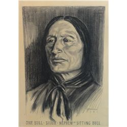 "Barron, Brown. One Bull, Nephew of Sitting Bull. Black & White Pastel. 19"" x 12 ¾. 1931. From the Es"