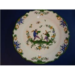 Pair of French hand painted plates by artist Renoleau