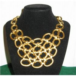 COUTURE MATTE GOLD HEAVY CHAIN LINK BIB NECKLACE MWF17