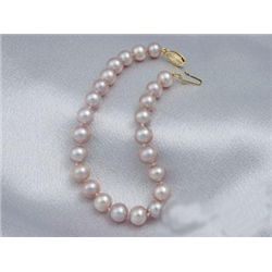 Ravishing Lavender 6mm AAA Cultured Pearl Necklace 14K