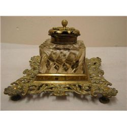 ET0503120116 19th C brass and glass inkwell