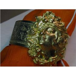 One of Kind Brass Art Nouveau Womens Cuff / Bangle Brac