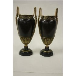 Pair 19th Century Mixed Metal Urns