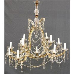 CHANDELIER; Thirteen Light Maria Theresa Style Crystal