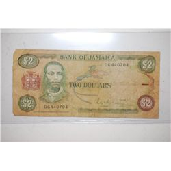 1987 Jamaica $2 Foreign Bank Note; EST. $3-5