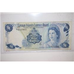 1971 Cayman Islands $1 Foreign Bank Note; EST. $3-5