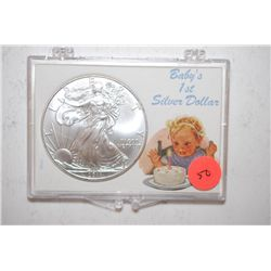 2011 Silver Eagle $1 In Baby's 1st Silver Dollar Holder; EST. $35-45