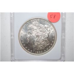 1884 Silver Morgan $1; MCPCG Graded MS62; EST. $50-65