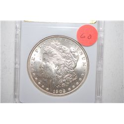 1902-O Silver Morgan $1; MCPCG Graded MS62; EST. $55-75