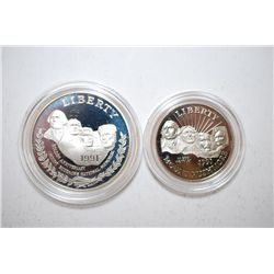 1991-S US Mt. Rushmore Anniversary Two-Coin Proof Set; Silver Dollar & Half Dollar; EST. $30-40