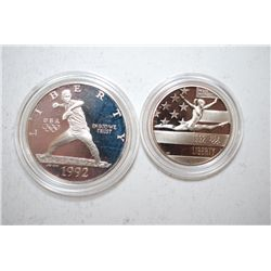 1992-S US Olympic Commemorative Two-Coin Proof Set; Silver Dollar & Half Dollar; EST. $35-45