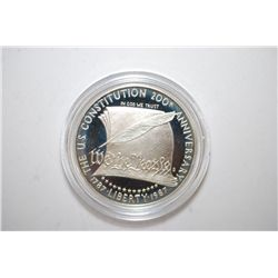 1987-S US Constitution 200th Anniversary Commemorative $1 Proof; .900 Silver .8594 Oz.; EST. $30-40