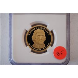2007-S US Presidential Thomas Jefferson-3rd President $1; NGC Graded PF69 Ultra Cameo; EST. $5-10