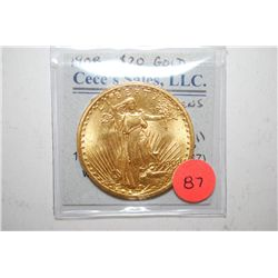 "1908 US St. Gaudens $20 Gold Coin ""No Motto""; EST. $1700-1900"