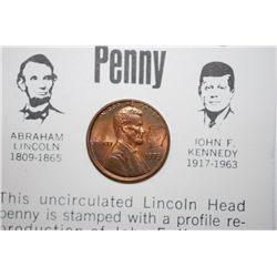 1973 Lincoln Penny With Imprint Of Kennedy Profile On Front & History; EST. $5-10