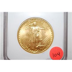 "1908 US St. Gaudens $20 Gold Coin ""No Motto""; NGC Graded MS66; EST. $2500-2900"