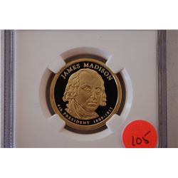 2007-S US Presidential James Madison-4th President $1; NGC Graded PF69 Ultra Cameo; EST. $5-10