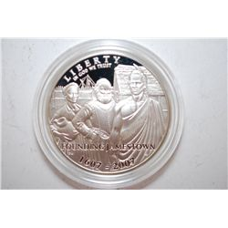2007-P US Jamestown 400th Anniversary Commemorative $1 Proof; 90% Silver 26.730 Grams Nominal; EST.