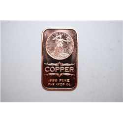 2012 Copper Ingot; .999 Fine Copper 1 Oz.; EST. $3-5