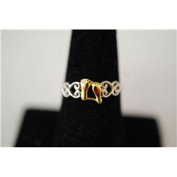 "Sterling Silver Ring Size 8 With Baby Feet And Inscribed ""It Was Then That I Carried You""; .925 Silv"
