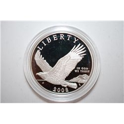 2008-P US Bald Eagle Commemorative Silver Dollar Proof; 90% Silver 26.730 Grams Nominal; EST. $40-50