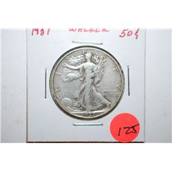1937 Walking Liberty Half Dollar; EST. $10-20